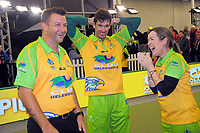 Hawks coach Mark Casey (left) celebrates with players Nathan Rice (centre) and Lynsey Clarke after winning the Bowls Premier League final between the Gold Coast Hawks and Brisbane Pirates at Naenae Bowling Club in Wellington, New Zealand on Thursday, 26 April 2018. Photo: Dave Lintott / lintottphoto.co.nz