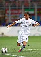 Calcio, finale di Champions League: Real Madrid vs Atletico Madrid. Stadio San Siro, Milano, 28 maggio 2016.<br /> Real Madrid&rsquo;s Cristiano Ronaldo in action during the Champions League final match between Real Madrid and Atletico Madrid, at Milan's San Siro stadium, 28 May 2016.<br /> UPDATE IMAGES PRESS/Isabella Bonotto