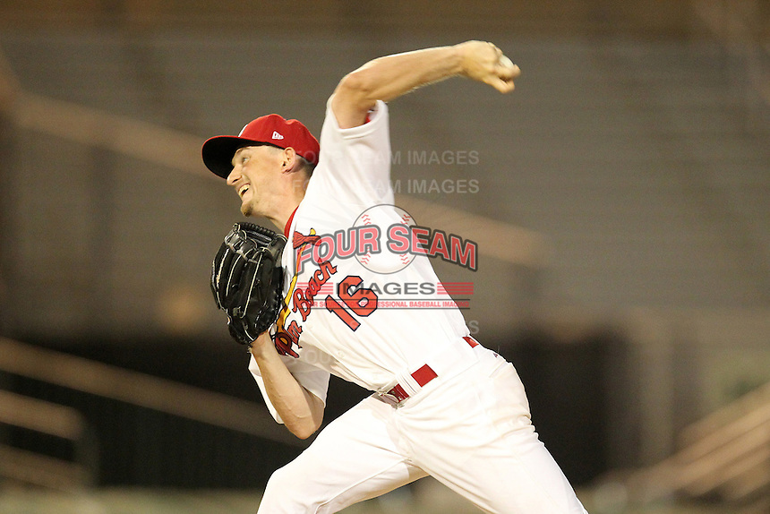 Palm Beach Cardinals pitcher Dean Kiekhefer #16 during a game against the Fort Myers Miracle at Roger Dean Stadium on May 2, 2012 in Jupiter, Florida.  Fort Myers defeated Palm Beach 2-1.  (Mike Janes/Four Seam Images)
