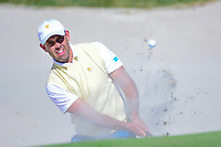 Charl Schwartzel (RSA) hits from the trap on 4 during round 1 foursomes of the 2017 President's Cup, Liberty National Golf Club, Jersey City, New Jersey, USA. 9/28/2017.<br /> Picture: Golffile | Ken Murray<br /> ll photo usage must carry mandatory copyright credit (&copy; Golffile | Ken Murray)