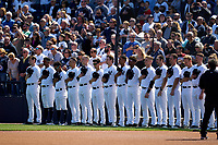 New York Yankees line up for the national anthem before a Spring Training game against the Toronto Blue Jays on February 22, 2020 at the George M. Steinbrenner Field in Tampa, Florida.  (Mike Janes/Four Seam Images)