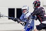 Corona Del Mar, CA 04/06/10 - Sam Langon (Danville/Monte Vista #3) and unknown Corona Del Mar player in action during the Corona Del Mar-Danville/Monte Vista lacrosse game.