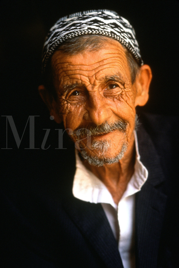 Portrait of an elderly, smiling Jewish man wearing a yarmulke. Israel.