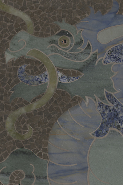Name: Dragon<br /> Style: Contemporary<br /> Product Number: CB0764<br /> Description: Dragon in Kay's Green, Blue Macauba, Blue Bahia, Verde Luna, Chinese Black (p), Montevideo (h)