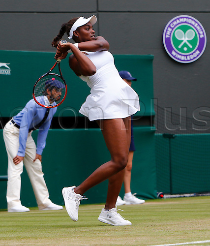 03.07.2016. All England Lawn Tennis and Croquet Club, London, England. The Wimbledon Tennis Championships Middle Sunday. Number 18 seed Sloane Stephens (USA) hits a backhand during her singles match against number 13 seed Svetlana Kuznetsova (RUS).