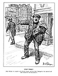 """Stop Thief! [Herr Hitler, in a speech to the Kondor Legion, said that theft """"belonged to the approved and tried methods of the democracies.""""] (Hitler as a thief carries a bag of loot from Czechoslovakia, Austria and Memel while pointing at John Bull and accusing him of theft)"""