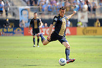 Sebastien Le Toux (9) of the Philadelphia Union. The Philadelphia Union and the New England Revolution  played to a 1-1 tie during a Major League Soccer (MLS) match at PPL Park in Chester, PA, on July 31, 2010.