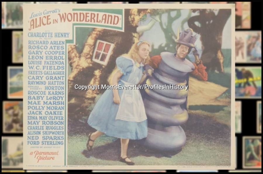 BNPS.co.uk (01202 558833)<br /> PIc: MorrisEverettJr/ProfilesInHistory/BNPS<br /> <br /> ***Please Use Full Byline***<br /> <br /> Alice in Wonderland (1951). <br /> <br /> The world's largest collection of movie posters boasting artwork from almost every single film made in the last century has emerged for sale for &pound;5 million.<br /> <br /> The colossal archive features 196,000 posters from more than 44,000 films, and has been singlehandedly pieced together by one avid collector over the last 50 years.<br /> <br /> Morris Everett Jr has dedicated his life's work to seeking out original posters from every English-speaking film ever made and compiling them into a comprehensive library.<br /> <br /> The sale is tipped to make $8 million - around &pound;5 million pounds - when it goes under the hammer in one lot at Califonia saleroom Profiles in History on December 17.