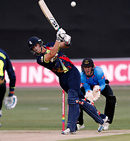 Joe Denly hits out for Kent during the Vitality Blast T20 game between Kent Spitfires and Sussex Sharks at the St Lawrence Ground, Canterbury, on Fri July 27, 2018