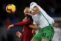 Nicolo Zaniolo of AS Roma and Gian Marco Ferrari of Sassuolo compete for the ball during the Serie A 2018/2019 football match between AS Roma and Sassuolo at stadio Olimpico, Roma, December, 26, 2018 <br />  Foto Andrea Staccioli / Insidefoto