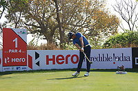 Nacho Elvira (ESP) in action on the 1st during Round 4 of the Hero Indian Open at the DLF Golf and Country Club on Sunday 11th March 2018.<br /> Picture:  Thos Caffrey / www.golffile.ie<br /> <br /> All photo usage must carry mandatory copyright credit (&copy; Golffile | Thos Caffrey)