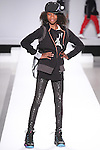 Model walks runway in an outfit from the Jordan collection, during the Kids Rock fashion show presented by Haddad Brands, during Mercedes-Benz Fashion Week Fall 2015.