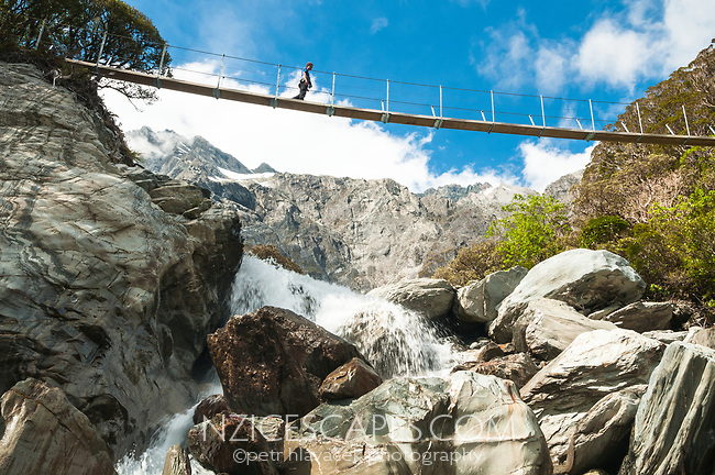 Swingbridge over Tekano Creek near Douglas Hut in Copland Valley with tramper, Westland Tai Poutini National Park, UNESCO World Heritage Area, West Coast, New Zealand, NZ