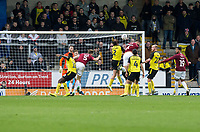 5th January 2020; Pirelli Stadium, Burton Upon Trent, Staffordshire, England; English FA Cup Football, Burton Albion versus Northampton Town; Charlie Goode of Northampton Town scores with a header in the 46th minute of the first half to take a 0-3 lead - Strictly Editorial Use Only. No use with unauthorized audio, video, data, fixture lists, club/league logos or 'live' services. Online in-match use limited to 120 images, no video emulation. No use in betting, games or single club/league/player publications