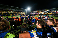 The Bath team huddle together after the match. Aviva Premiership match, between Worcester Warriors and Bath Rugby on January 5, 2018 at Sixways Stadium in Worcester, England. Photo by: Rogan Thomson / JMP