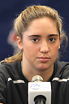 05 December 2013: Virginia's Morgan Brian. The head coach and selected players from teams participating in the 2013 Women's College Cup spoke to the media at WakeMed Stadium in Cary, North Carolina.