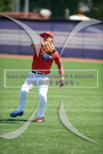 Alek Thomas (2) of Mount Carmel High School in Chicago, Illinois during the Under Armour All-American Game practice presented by Baseball Factory on July 28, 2017 at Rocky Miller Park in Evanston, Illinois.  (Mike Janes/Four Seam Images)