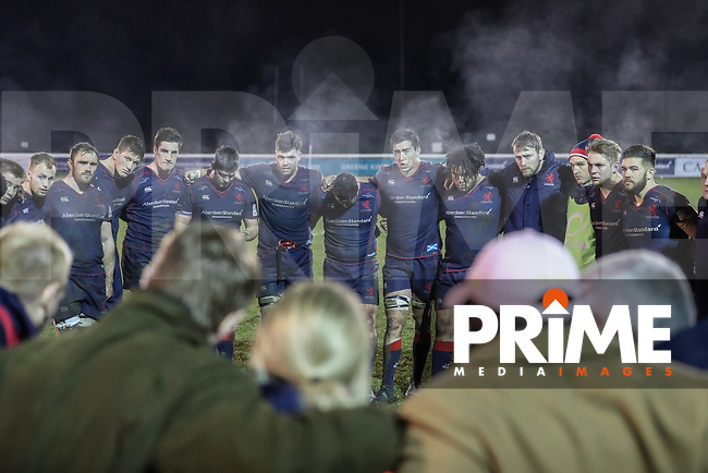 London Scottish players after the Greene King IPA Championship match between London Scottish Football Club and Jersey Reds at Richmond Athletic Ground, Richmond, United Kingdom on 16 March 2018. Photo by David Horn.