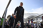 Belgian National Champion Oliver Naesen (BEL) AG2R La Mondiale on stage at the team presentation before the 116th edition of Paris-Roubaix 2018. 7th April 2018.<br /> Picture: ASO/Pauline Ballet | Cyclefile<br /> <br /> <br /> All photos usage must carry mandatory copyright credit (&copy; Cyclefile | ASO/Pauline Ballet)