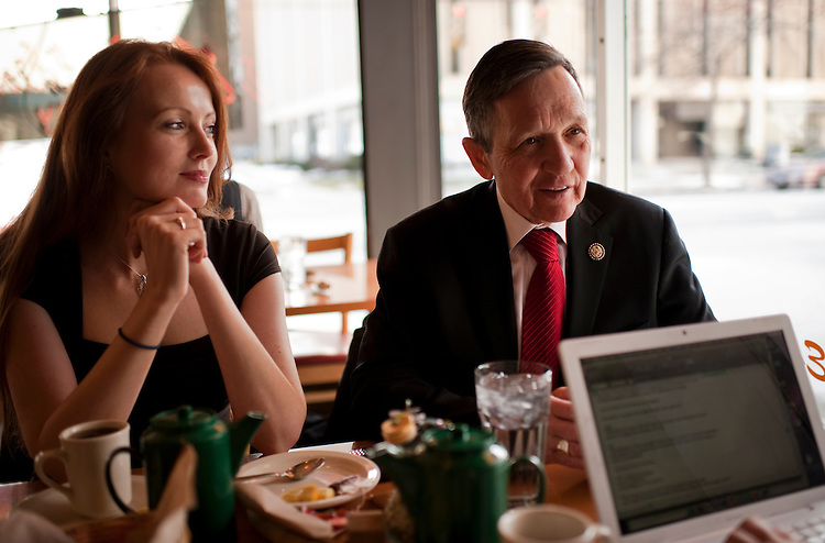 UNITED STATES - FEBRUARY 13:  Elizabeth Kucinich, looks on as her husband Rep. Dennis Kucinich, D-Ohio, is interviewed by Roll Call at a restaurant in Lakewood, Ohio.  Kucinich and Rep. Marcy Kaptur, D-Ohio, are running for the OH-09 seat after the state lost two seats due to reapportionment.  (Photo By Tom Williams/CQ Roll Call)