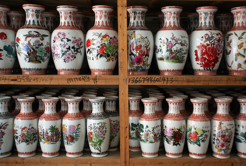 Vases for sale in a wholesale shop in Guo Mao Market in Jingdezhen June 26, 2006.