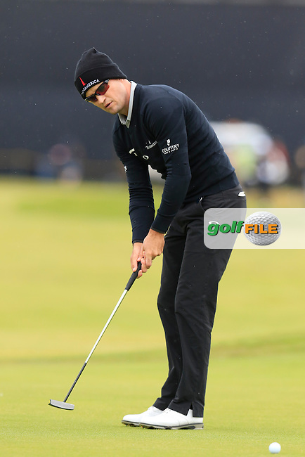 Zach Johnson (USA) takes his putt on the 2nd green during Saturday's Round 3 of the 145th Open Championship held at Royal Troon Golf Club, Troon, Ayreshire, Scotland. 16th July 2016.<br /> Picture: Eoin Clarke | Golffile<br /> <br /> <br /> All photos usage must carry mandatory copyright credit (&copy; Golffile | Eoin Clarke)