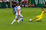 13.07.2019, Parkstadion, Zell am Ziller, AUT, FSP, Werder Bremen vs. Darmstadt 98<br /> <br /> im Bild / picture shows <br /> Mathias Honsak (Darmstadt 98 #18)<br /> Marco Friedl (Werder Bremen #32)<br /> Jiri Pavlenka (Werder Bremen #01)<br /> <br /> Foto © nordphoto / Kokenge