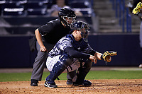 Tampa Yankees catcher Wes Wilson (69) awaits the pitch during a game against the Bradenton Marauders on April 15, 2017 at George M. Steinbrenner Field in Tampa, Florida.  Tampa defeated Bradenton 3-2.  (Mike Janes/Four Seam Images)