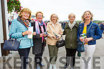 Aideen O'Leary, Mary Whelan, Mary Thornton, Margo Lynch and Geraldine O'Connor from Listowel enjoying the Listowel Racing festival on Tuesday afternoon in Listowel