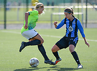 20180915 - Brugge , BELGIUM : Aalst's Daisy Baudewijns (left) pictured with Brugge's Ellen Martens (r)  during the third game in the first division season 2018-2019 between the women teams of Club Brugge Dames and Eendracht Aalst , Saturday 15 September 2018 . PHOTO DAVID CATRY | SPORTPIX.BE