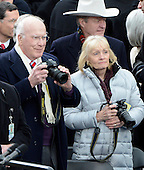 United States Senator Patrick Leahy (Democrat of Vermont), the Senate President Pro-Tempore, and his wife, Marcelle, hold their cameras as they await the arrival of U.S. President Barack Obama to take the oath of office during the public swearing-in ceremony at the U.S. Capitol in Washington, D.C. on Monday, January 21, 2013..Credit: Ron Sachs / CNP.(RESTRICTION: NO New York or New Jersey Newspapers or newspapers within a 75 mile radius of New York City)