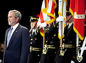 Arlington, VA - January 6, 2009 -- United States President George W. Bush prepares to receive the Department of Defense Medal for Distinguished Public Service during the Military Appreciation Parade at Fort Myer in Arlington, Virginia, U.S. on Tuesday, January 6, 2009.        .Credit: Joshua Roberts - Pool via CNP