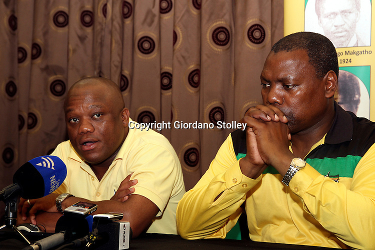 KWADLANGEZWA, KwaZulu-Natal - 9 December 2012 - The African National Congress' provincial secretary Sihle Zikalala addresses the media at a Cadre'a Forum at the University of Zululand  as KwaZulu-Natal premier Zweli Mkhize looks on..Picture: Giordano Stolley