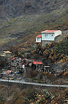 One burnt and one safe house, after forest fires of July 2007, Masca, Tenerife, Canary Islands.