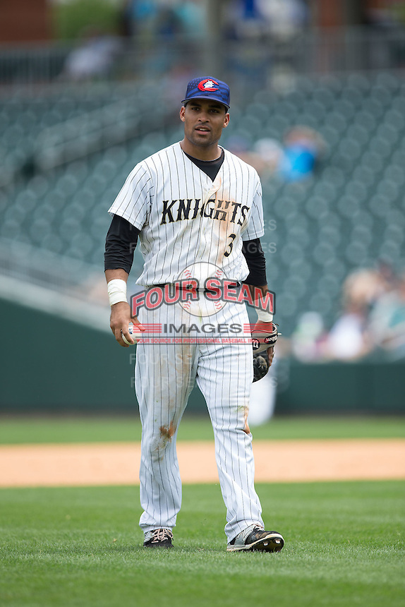 Charlotte Knights second baseman Micah Johnson (3) on defense against the Gwinnett Braves at BB&T BallPark on July 3, 2015 in Charlotte, North Carolina.  The Braves defeated the Knights 11-4 in game one of a day-night double header.  (Brian Westerholt/Four Seam Images)