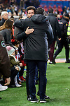 Atletico de Madrid's Coach Diego Pablo Simeone and Real Betis's Coach Victor Sanchez del Amo during La Liga match between Atletico de Madrid and Real Betis at Vicente Calderon Stadium in Madrid, Spain. January 14, 2017. (ALTERPHOTOS/BorjaB.Hojas)
