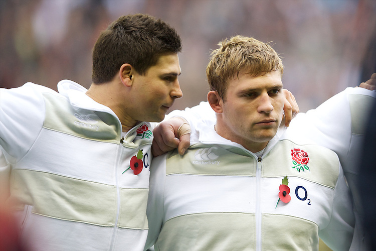 Brothers Ben (left) and Tom Youngs of England during the QBE International between England and Fiji at Twickenham on Saturday 10th November 2012 (Photo by Rob Munro)