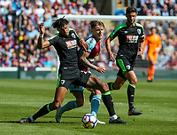 Burnley's Jeff Hendrick battles with Bournemouth's Tyrone Mings<br /> <br /> Photographer Alex Dodd/CameraSport<br /> <br /> The Premier League - Burnley v Bournemouth - Sunday 13th May 2018 - Turf Moor - Burnley<br /> <br /> World Copyright &copy; 2018 CameraSport. All rights reserved. 43 Linden Ave. Countesthorpe. Leicester. England. LE8 5PG - Tel: +44 (0) 116 277 4147 - admin@camerasport.com - www.camerasport.com