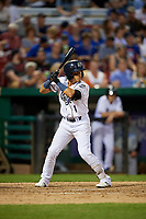 Kane County Cougars second baseman Jancarlos Cintron (1) at bat during a game against the West Michigan Whitecaps on July 19, 2018 at Northwestern Medicine Field in Geneva, Illinois.  Kane County defeated West Michigan 8-5.  (Mike Janes/Four Seam Images)