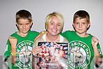 John Cena fans William and Aaron Galvin Caherciveen with their mum Ashleigh at the American Wrestling in the Aura Sports Arena on Saturday evening