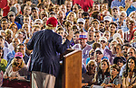 MOBILE, AL- AUGUST 21: U.S. Republican presidential candidate Donald Trump speaks during a rally at Ladd-Peebles Stadium in Mobile, Alabama on August 21, 2015 . The Donald Trump campaign moved tonight's rally to a larger stadium to accommodate demand. (Photo by Mark Wallheiser/Getty Images)