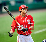 23 August 2009: Washington Nationals' outfielder Mike Morse at bat against the Milwaukee Brewers at Nationals Park in Washington, DC. The Nationals defeated the Brewers 8-3 to take the third game of their four-game series, snapping a five games losing streak. Mandatory Credit: Ed Wolfstein Photo