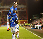 06.02.2019 Aberdeen v Rangers: Alfredo Morelos celebrates his goal with Ryan Jack and Borna Barisic