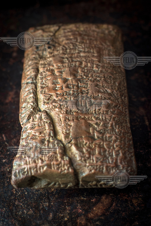 A copy of a cuneiform inscription found on a tablet of clay from ancient Mesopotamia held at the British Museum.