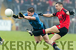 Mark Crowley Kenmare in action against Lee Keegan Westport in the AIB GAA Football Junior All Ireland Club Championship Semi Final in Ennis on Sunday.