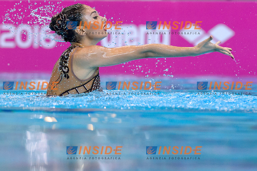 PLATANIOTI Evangelia GRE Greece<br /> Solo Free<br /> London, Queen Elizabeth II Olympic Park Pool <br /> LEN 2016 European Aquatics Elite Championships <br /> Synchronized Swimming  <br /> Day 01 09-05-2016<br /> Photo Andrea Staccioli/Deepbluemedia/Insidefoto