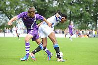 VOETBAL: DE KNIPE: Read Swart-complex, 21-07-2012, Oefenwedstrijd SC Heerenveen - K. Beerschot AC, Alpaslan Öztürk (#21), Arsenio Valpoort (#29), ©foto Martin de Jong
