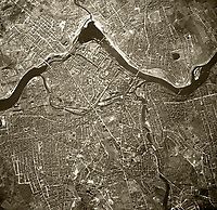 historical aerial photograph Lowell, Massachusetts, 1955