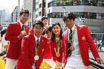 (L-R) Yoshihide Kiryu, Shota Iizuka, Aiko Hayashi, Takuya Haneda (JPN), OCTOBER 7, 2016 : Japanese medalists of Rio 2016 Olympic and Paralympic Games wave to spectators during a parade from Ginza to Nihonbashi, Tokyo, Japan. (Photo by Yosuke Tanaka/AFLO)