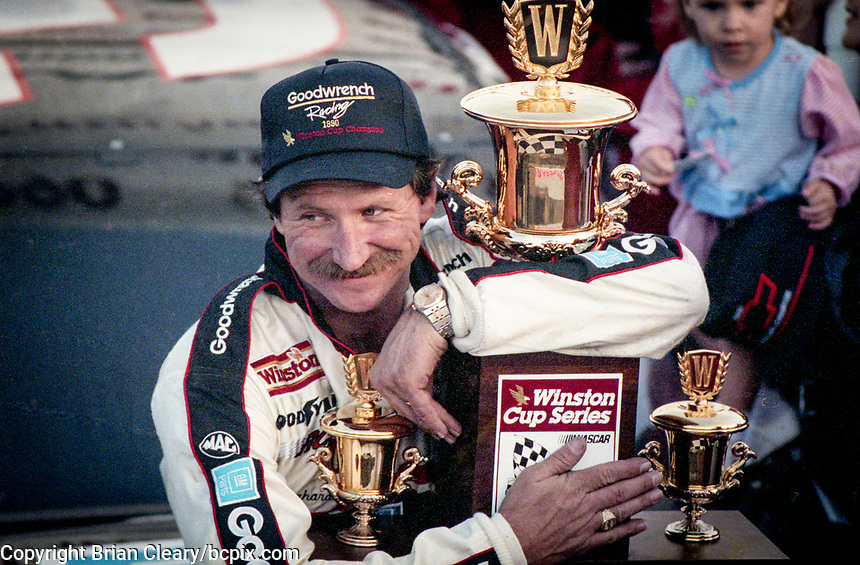 Dale Earnhardt celebrates his 4th Winston Cup championship, Atlanta Journal 500, Atlanta Motor Speedway, Hampton, GA, November 18, 1990. (Photo by Brian Cleary/bcpix.com)